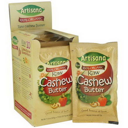Artisana, 100% Organic Raw Cashew Butter, 10 Packs, 1.19oz (33.7g) Each
