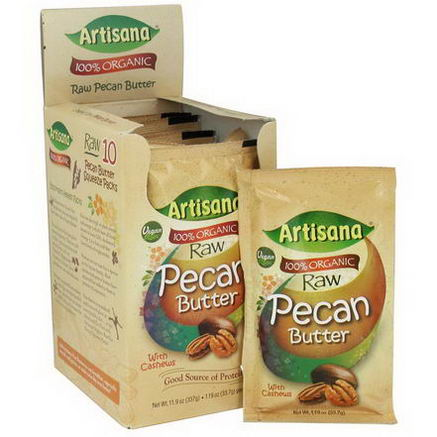 Artisana, 100% Organic Raw Pecan Butter with Cashews, 10 Packs, 1.19oz (33.7g) Each
