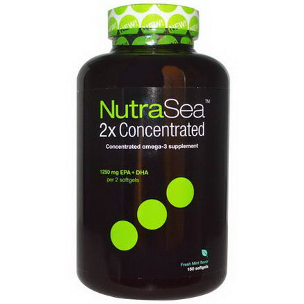 Ascenta, NutraSea 2x Concentrated, Fresh Mint Flavor, 1250mg, 150 Softgels