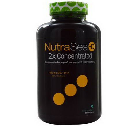 Ascenta, NutraSea +D, 2X Concentrated Omega-3 Supplement, Fresh Mint Flavor, 150 Softgels