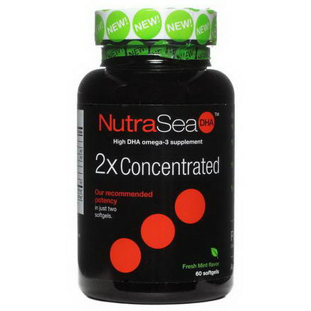 Ascenta, NutraSea DHA, 2X Concentrated, Fresh Mint Flavor, 60 Softgels