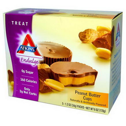 Atkins, Endulge, Peanut Butter Cups, 5 Packs, 1.2oz (34g) Each
