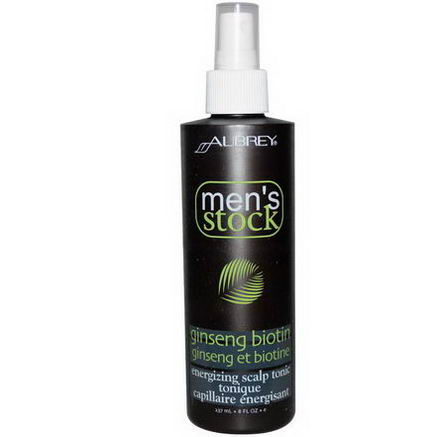 Aubrey Organics, Men's Stock, Energizing Scalp Tonic, Ginseng Biotin, 8 fl oz (237 ml)