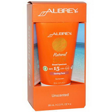 Aubrey Organics, Natural Sun, SPF 15, Saving Face Sunscreen, Unscented, 2.3 fl oz (68 ml)
