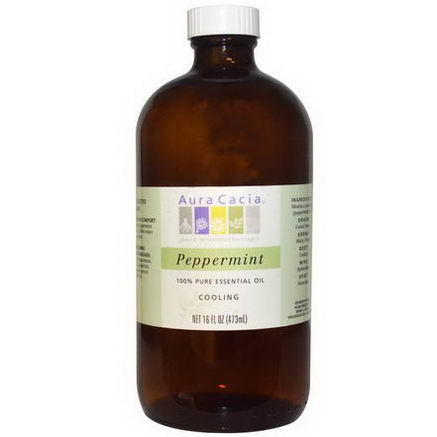 Aura Cacia, 100% Pure Essential Oil, Peppermint, Cooling, 16 fl oz (473 ml)