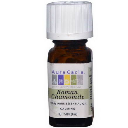 Aura Cacia, 100% Pure Essential Oil, Roman Chamomile, 0.125 fl oz (3.7 ml)
