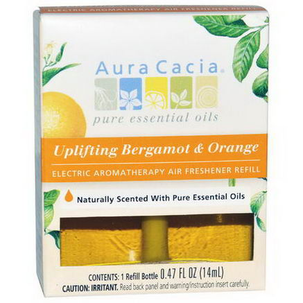 Aura Cacia, Electric Aromatherapy Air Freshener Refill, Uplifting Bergamot & Orange, 0.47 fl oz (14 ml)