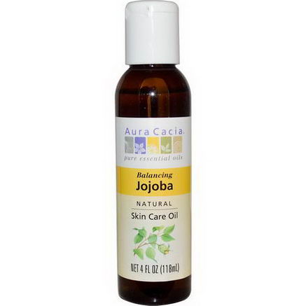 Aura Cacia, Natural Skin Care Oil, Jojoba, Balancing, 4 fl oz (118 ml)