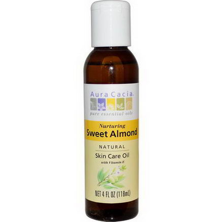 Aura Cacia, Natural Skin Care Oil, with Vitamin E, Nurturing Sweet Almond, 4 fl oz (118 ml)