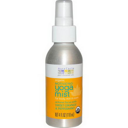 Aura Cacia, Organic, Yoga Mist, Motivating, Sweet Orange & Peppermint, 4 fl oz (118 ml)