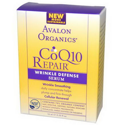 Avalon Organics, CoQ10 Repair, Wrinkle Defense Serum, 55 fl oz (16 ml)