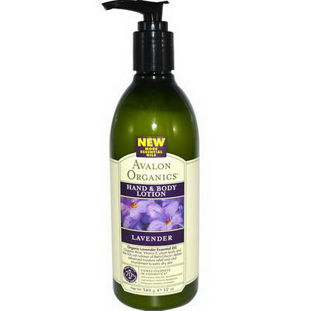 Avalon Organics, Hand & Body Lotion, Lavender, 12oz (340g)