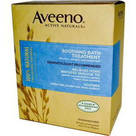 Aveeno, Active Naturals, Soothing Bath Treatment, Fragrance Free, 8 Single Use Bath Packets, 1.5oz (42g) Each.