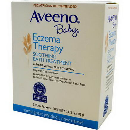 Aveeno, Baby, Eczema Therapy, Soothing Bath Treatment, Fragrance Free, 5 Bath Packets, 3.75oz (106g)