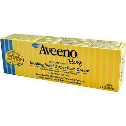 Aveeno, Baby, Soothing Relief Diaper Rash Cream, Fragrance Free, 3.7oz (105g)