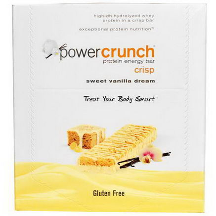 BNRG, Power Crunch Protein Energy Bar Crisp, Sweet Vanilla Dream, 12 Bars, 1.5oz (41g) Each