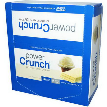 BNRG, Power Crunch Protein Energy Bar, French Vanilla Creme, 12 Bars, 1.4oz (40g) Each