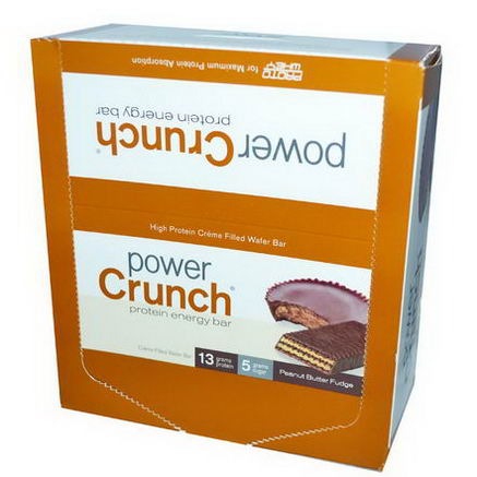BNRG, Power Crunch Protein Energy Bar, Peanut Butter Fudge, 12 Bars, 1.4oz (40g) Each