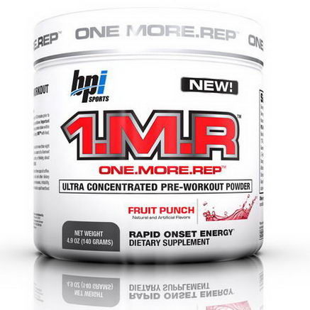 BPI Sports, 1. M. R. Ultra Concentrated Pre-Workout Powder, Fruit Punch, 4.9oz (140g)