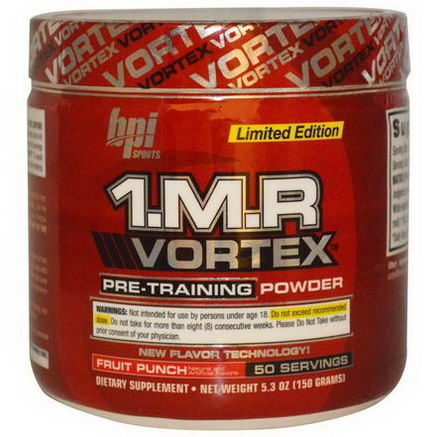 BPI Sports, 1. M. R. Vortex, Pre-Training Powder, Fruit Punch, 5.3oz (150g)