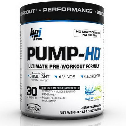 BPI Sports, Pump-HD, Ultimate Pre-Workout Formula, Blue Ice Lemonade, 11.64oz (330g)