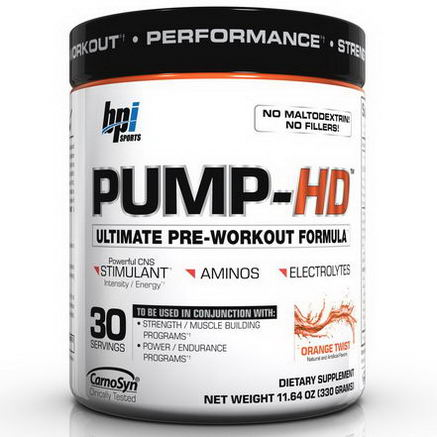 BPI Sports, Pump-HD, Ultimate Pre-Workout Formula, Orange Twist, 11.64oz (330g)