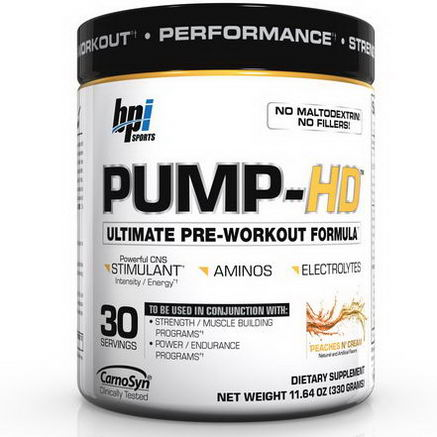 BPI Sports, Pump-HD, Ultimate Pre-Workout Formula, Peaches N' Cream, 11.64oz (330g)