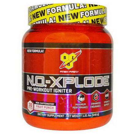 BSN, N. O. -Xplode, Pre-Workout Igniter, Non-Caffeinated, Fruit Punch, 1.21 lbs (548g)
