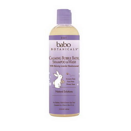 Babo Botanicals, 3-in-1 Calming Shampoo, Bubble Bath & Wash with Relaxing Lavender Meadowsweet, 13.5 fl oz (400 ml)