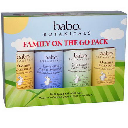 Babo Botanicals, Family On The Go Pack, 4 Piece Kit