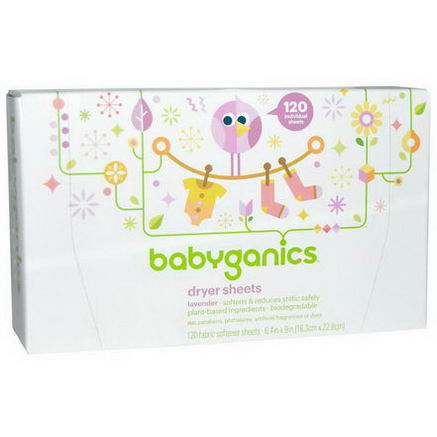 BabyGanics, Dryer Sheets, Lavender, 120 Fabric Softener Sheets