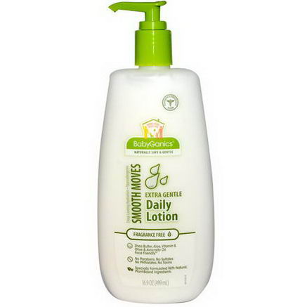 BabyGanics, Smooth Moves, Extra Gentle Daily Lotion, Fragrance Free, 16.9oz (499 ml)