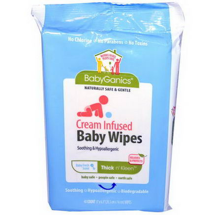 BabyGanics, Thick N' Kleen, Cream Infused Baby Wipes, Baby Fresh Scent, 40 Count, (8