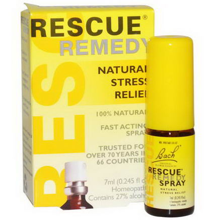 Bach Original Flower Essences, Rescue Remedy, Natural Stress Relief Spray, 0.245 fl oz (7 ml)