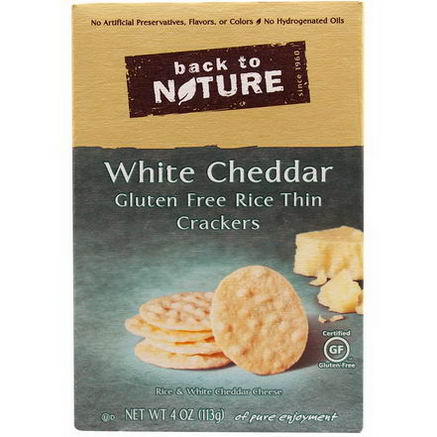 Back to Nature, Gluten Free Rice Thin Crackers, White Cheddar, 4oz (113g)