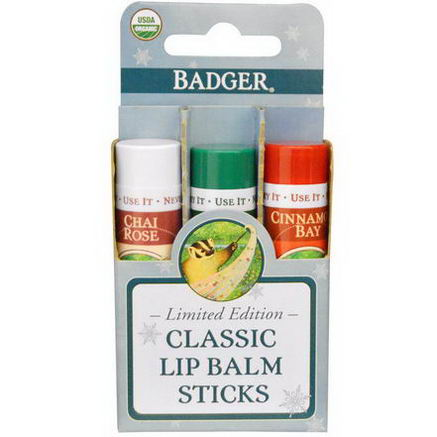 Badger Company, Classic Lip Balm Sticks, Limited Edition, 3 Lip Balms, 15oz (4.2g) Each