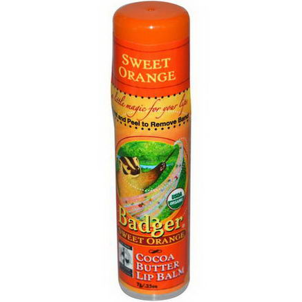 Badger Company, Cocoa Butter Lip Balm, Sweet Orange, 25oz (7g)