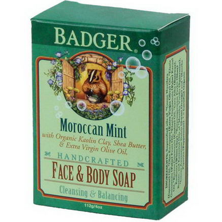 Badger Company, Face & Body Soap, Moroccan Mint, 4oz (112g)