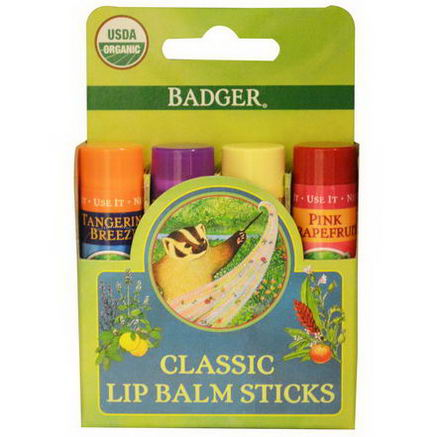Badger Company, Organic Classic Lip Balm Sticks, 4 Lip Balm Sticks, 15oz (4.2g) Each