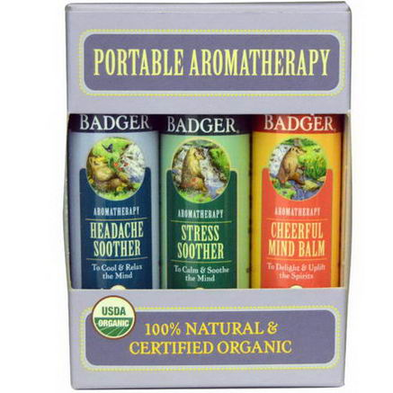 Badger Company, Portable Aromatherapy, Mind Balm Variety Pack, 3 Balms, 60oz (17g) Each