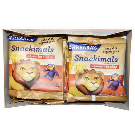 Barbara's Bakery, Snackimals, Animal Cookies, Chocolate Chip, 6 Bags, 1oz (28g) Each