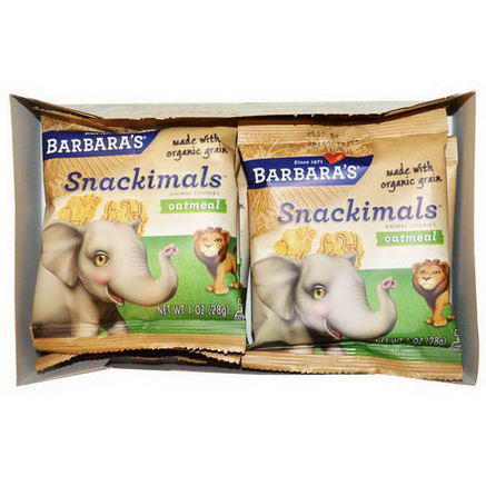 Barbara's Bakery, Snackimals, Animal Cookies, Oatmeal, 6 Bags, 1oz (28g) Each