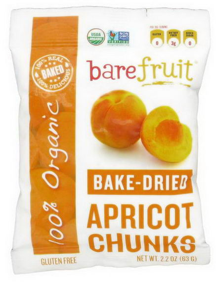 Bare Fruit, Bake-Dried Apricot Chunks, 2.2oz (63g)