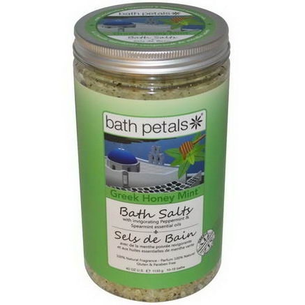 Bath Petals, Bath Salts, Greek Honey Mint, 40oz (1133g)