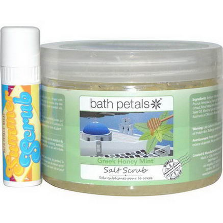 Bath Petals, Salt Scrub, Greek Honey Mint, 20oz (567g) with1oz Summer Scrub