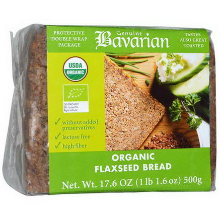 Bavarian Breads, Organic Flaxseed Bread, 17.6oz (500g)