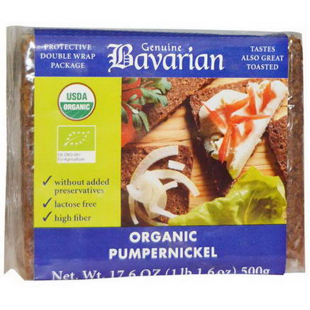 Bavarian Breads, Organic Pumpernickel, 17.6oz (500g)