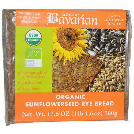 Bavarian Breads, Organic Sunflowerseed Rye Bread, 17.6oz (500g)