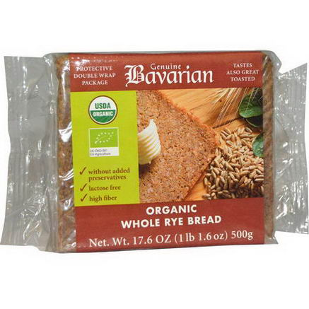 Bavarian Breads, Organic Whole Rye Bread, 17.6oz (500g)