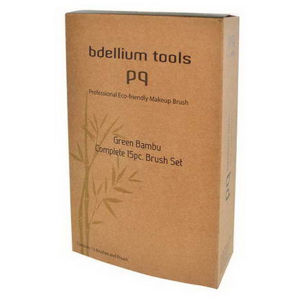 Bdellium Tools, Green Bambu, Complete Brush Set, 15 Brushes and Pouch